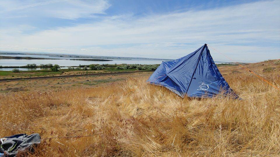 one man trekking pole tent