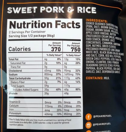 backpacking meal nutrition information